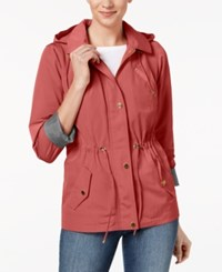 Charter Club Water Resistant Hooded Anorak Jacket Dusty Coral