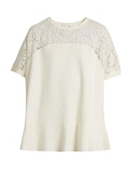 Valentino Round Neck Lace Panel Sweater Ivory