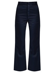 Martine Rose High Rise Kick Flare Cotton Trousers Navy