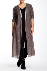 Loveappella Duster Cardigan Plus Size Brown