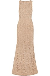 Alice Olivia Kacie Beaded Macrame Lace Gown Neutral