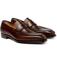 George Cleverley Full Grain Leather Penny Loafers Dark Brown