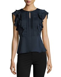 Collective Concepts Keyhole Ruffled Peplum Top Navy