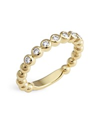 Lagos 18K Gold Beaded And Diamond Ring White Gold