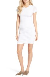 James Perse Women's Ruched Stretch Cotton Dress White