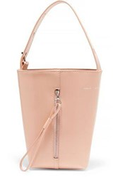 Kara Panel Pail Glossed Leather Bucket Bag Pastel Pink