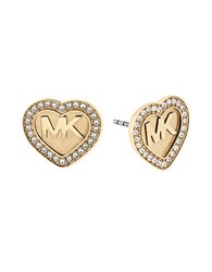 Michael Kors Cubic Zirconia Studded Heart Shaped Earrings Gold