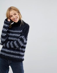 Lee High Neck Relaxed Fit Stripe Knit Midnight Blue