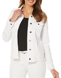 Rafaella Solid Denim Jacket White