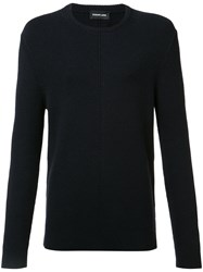 Exemplaire English Ribbed Crew Neck Jumper Blue