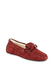 Tod's Shearling Lined Suede Moccasins Red
