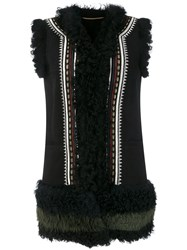 Bazar Deluxe Ethnic Embroidery Sleeveless Jacket Sheep Skin Shearling Black