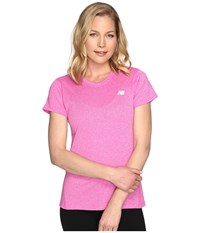 New Balance Heathered Short Sleeve Tee Fusion Heather Women's Short Sleeve Pullover Pink