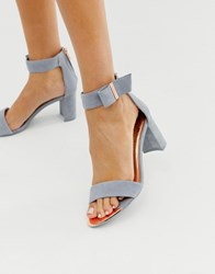 Ted Baker Grey Suede Barely There Block Heeled Sandals