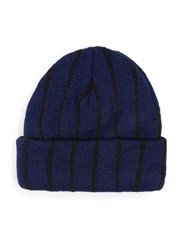 Topman Blue Navy And Black Stripe Beanie