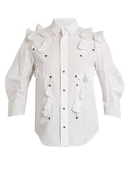Toga Ruffled Cotton Poplin Shirt White
