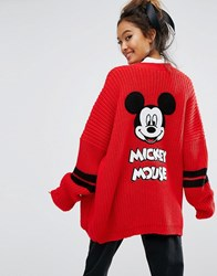 Lazy Oaf X Disney Mickey Mouse College Cardigan Red