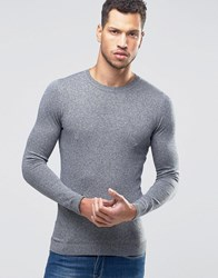 Asos Muscle Fit Crew Neck Jumper Blue Beige Twist