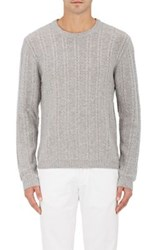 Barneys New York Women's Striped Cable Knit Sweater Grey