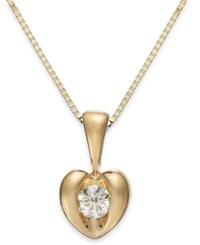 Sirena Diamond Heart Pendant Necklace In 14K Gold 1 10 Ct. T.W. Yellow Gold