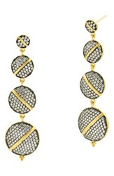Freida Rothman Women's Textured Ornaments Dome Drop Earrings Black Gold