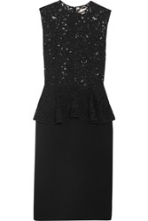 Saint Laurent Lace And Wool Blend Peplum Dress Black