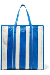 Balenciaga Bazar Striped Textured Leather Tote Blue