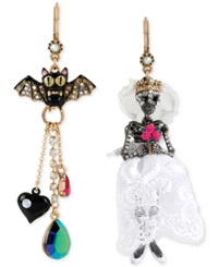 Betsey Johnson Two Tone Pave Bat And Skeleton Bride Mismatch Earrings