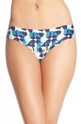 Women's Halogen 'No Show' Thong Blue Amparo Geo Print