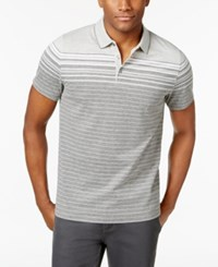 Alfani Men's Engineered Striped Polo Only At Macy's Zinc Heather