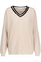 Brunello Cucinelli Embellished Ribbed Cashmere Sweater Cream