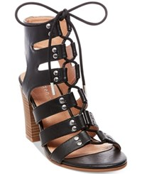 Madden Girl Nyles Lace Up Block Heel Sandals Women's Shoes Black