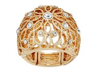 Guess Filigree Flower Dome Ring Gold Crystal Ring