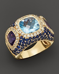 Bloomingdale's Blue Topaz And Multi Gemstone Pave Ring In 14K Yellow Gold Gold Multi