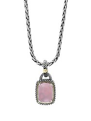 Effy Rose Quartz Sterling Silver And 18K Yellow Gold Pendant Necklace