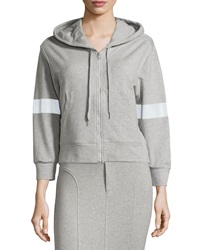 Norma Kamali Cropped Hooded Sweatshirt Heather Gr