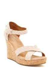 Toms Canvas Woven Geometric Print Wedge Sandal Beige