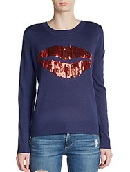 Saks Fifth Avenue Sequined Lips Sweater Navy