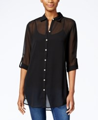 Jm Collection Sheer Button Front Shirt Only At Macy's Deep Black