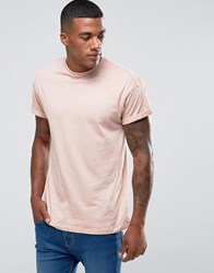 New Look Rolled Sleeve T Shirt In Pink Pink
