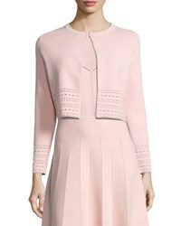 Lela Rose Pointelle Knit Crop Cardigan Light Pink