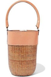 Kayu Woman Lucie Two Tone Leather And Wicker Bucket Bag Blush