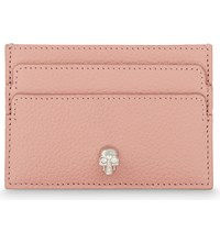 Alexander Mcqueen Skull Small Grained Leather Card Holder Petale Pink