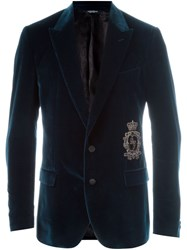 Dolce And Gabbana Velvet Blazer Blue