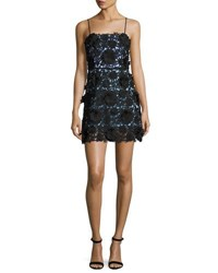 Milly Sleeveless 3D Floral Lace Minidress Multi