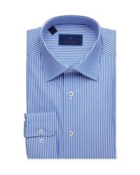 David Donahue Regular Fit Classic Stripe Dress Shirt Blue