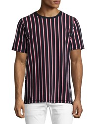 Rag And Bone Disrupted Striped T Shirt Navy White Red Multi