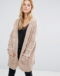 Fashion Union Oversized Cardigan In Chunky Cable Knit Pink