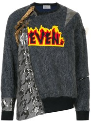 Kolor Embroidered Patchwork Sweater Grey