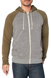 Threads For Thought Raglan Hoodie Heather Grey Army